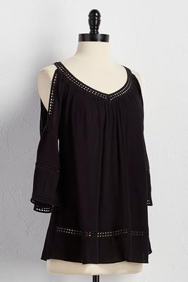 crochet trim bare shoulder poet top