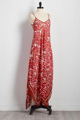 bordered botanical hanky hem dress