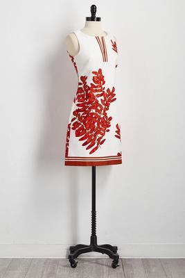bordered botanical sheath dress