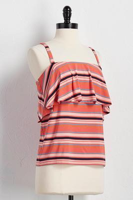 flounced striped tank