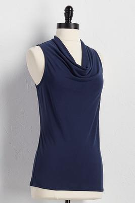 draped neck silk wash tank