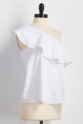 flounced one shoulder top