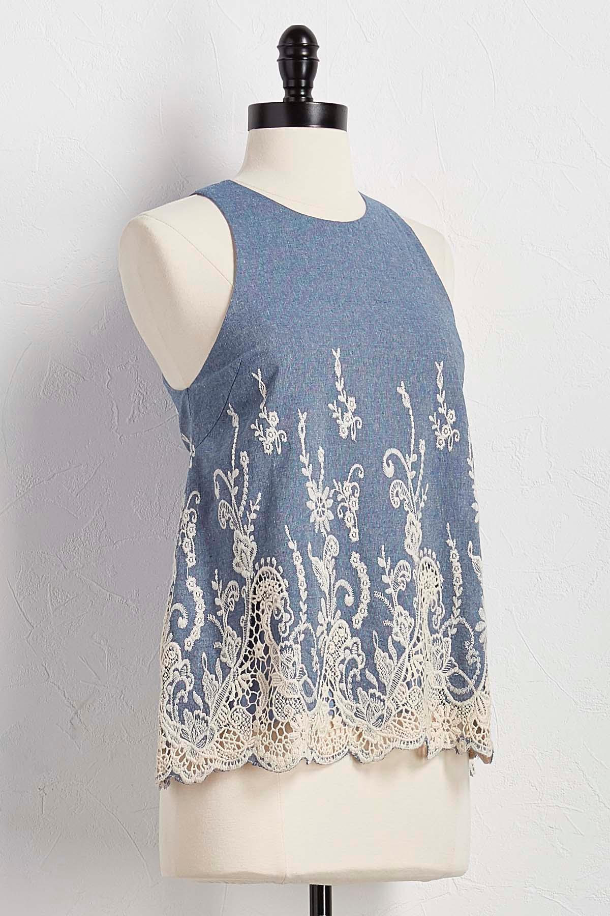 Botanical Embroidered Scalloped Crochet Tank
