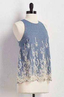 botanical embroidered scalloped crochet tank