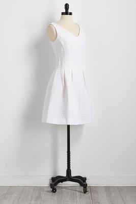 circle jacquard fit and flare dress
