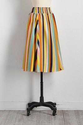 smocked waist striped midi skirt