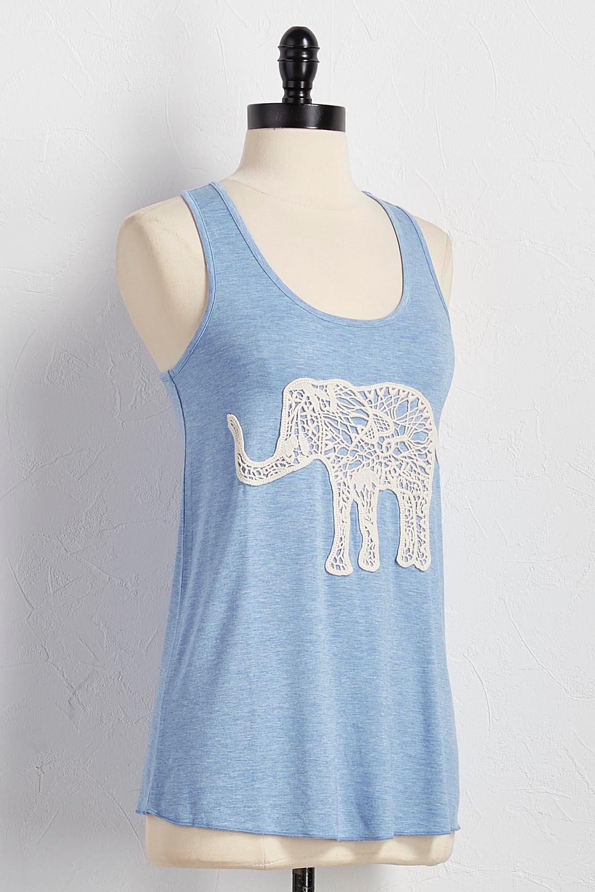 Crochet Elephant Applique Tank