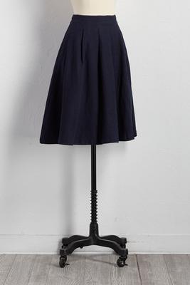 pleated linen midi skirt