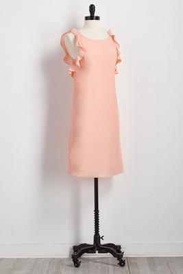 ruffled trim midi dress