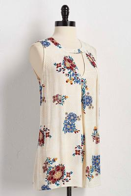 floral cutout neck tunic