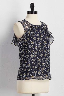 floral ruffled bare shoulder top