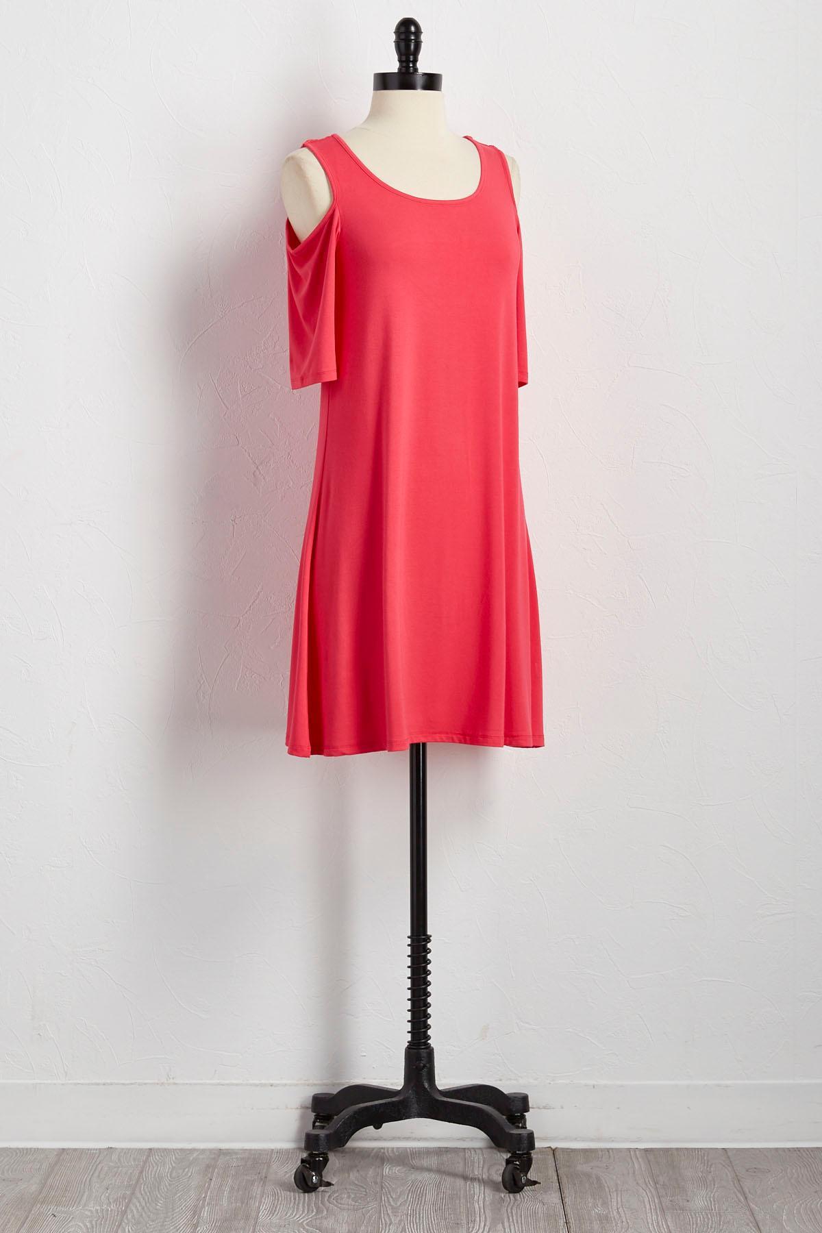 Bare Shoulder Knit Shift Dress