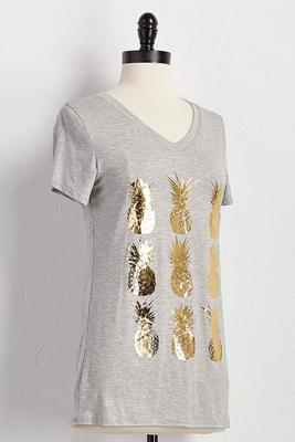 metallic pineapple graphic tee