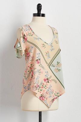 floral patchwork bare shoulder top