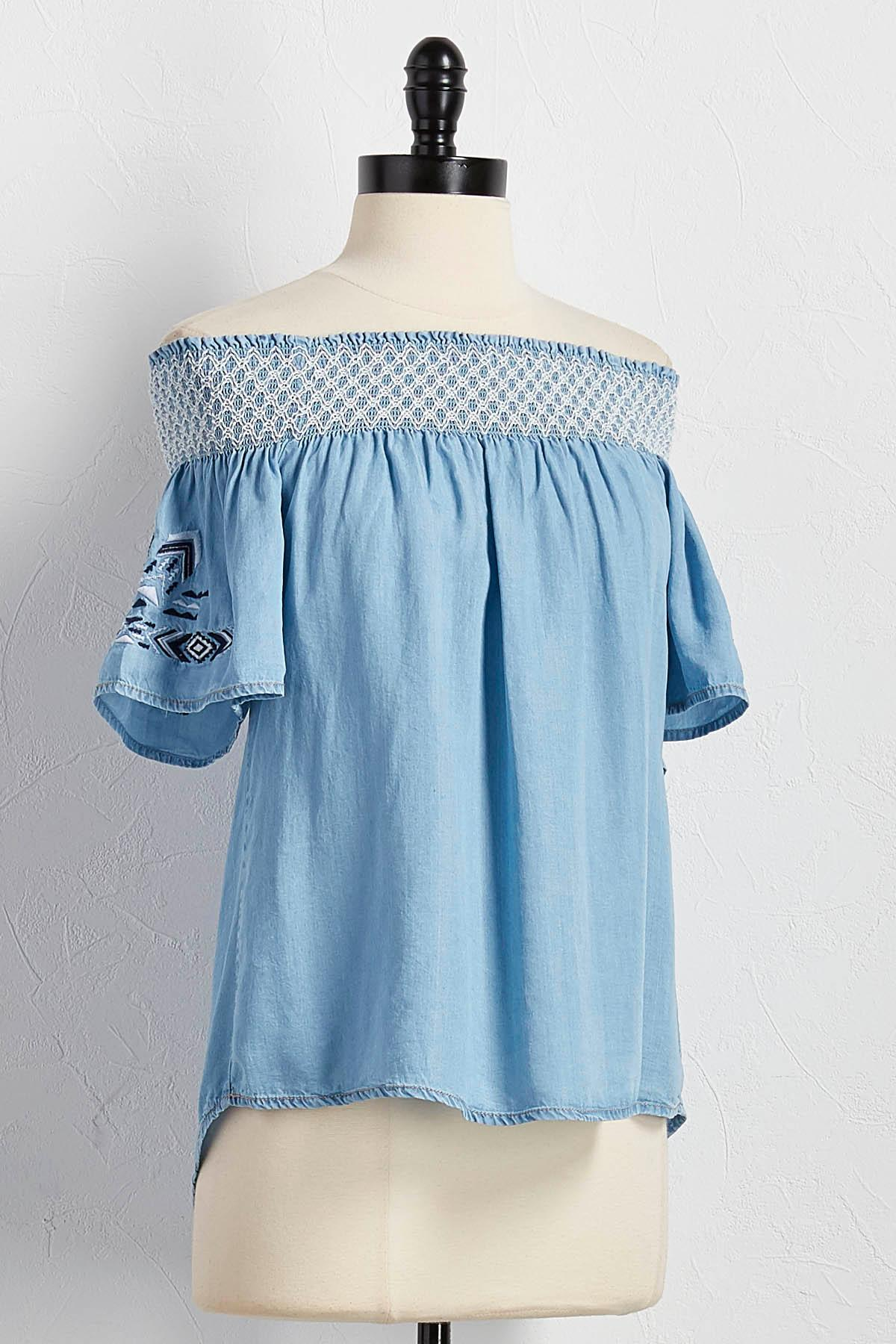Embroidered Chambray Off The Shoulder Top