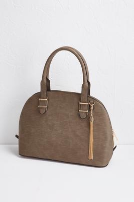 textured tassel bowler satchel