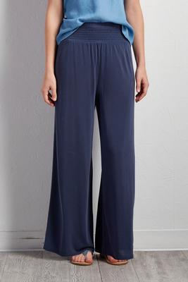 smocked silk wash palazzo pants
