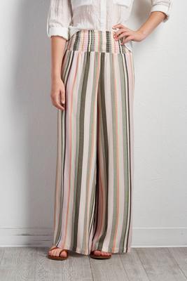 smocked striped palazzo pants