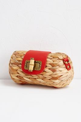 braided straw clutch