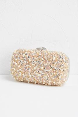 embellished front box clutch