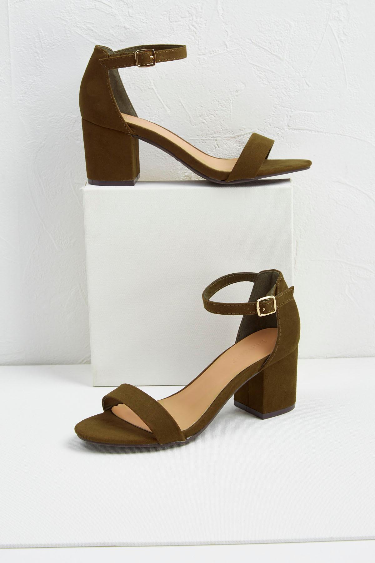 Versona Ankle Strap Low Block Heels