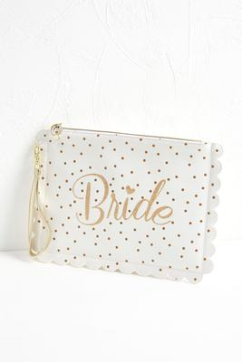 scalloped bride zip pouch