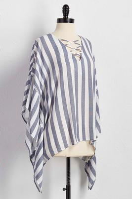 striped lattice neck poncho top