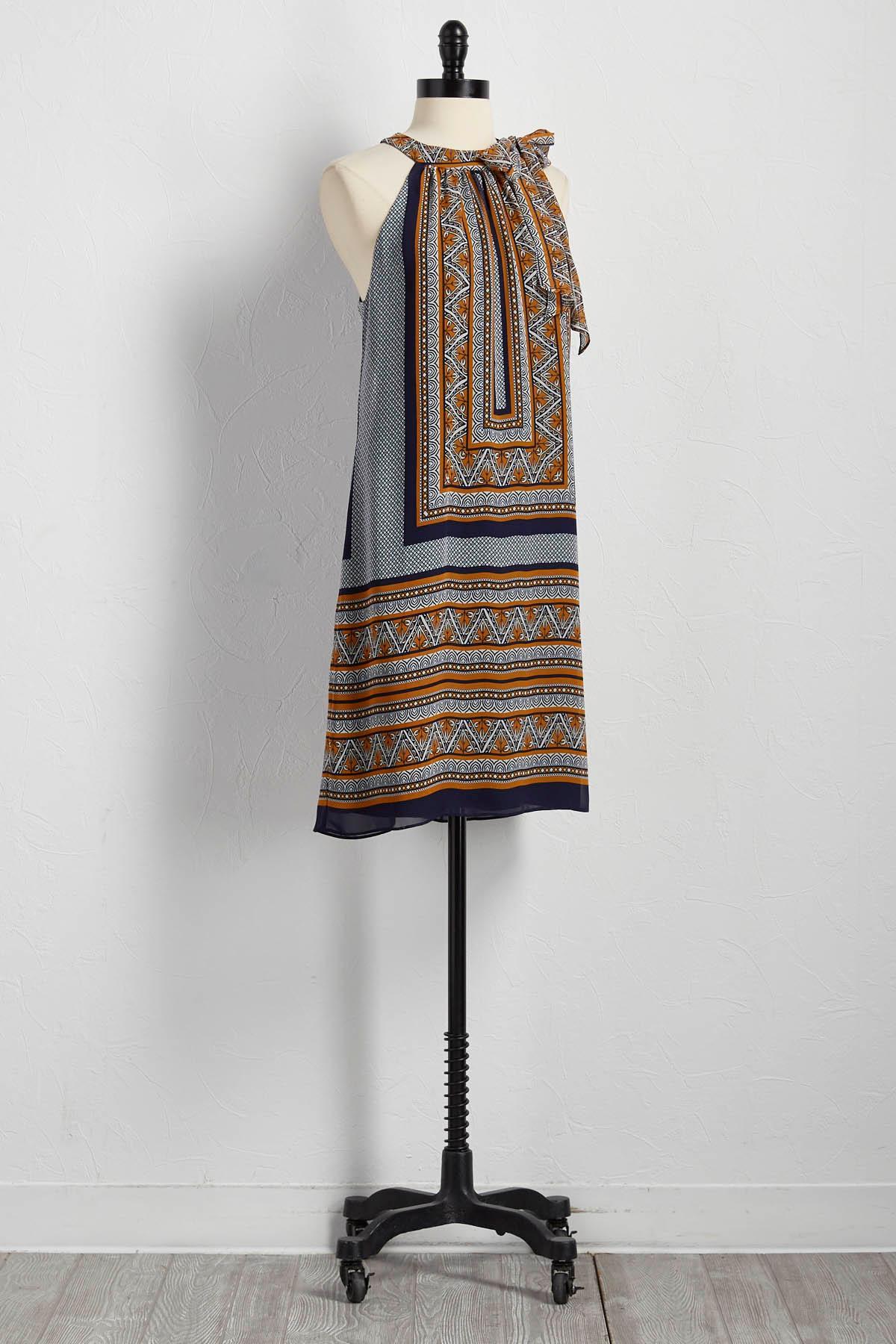 Bordered Tile Print Shift Dress