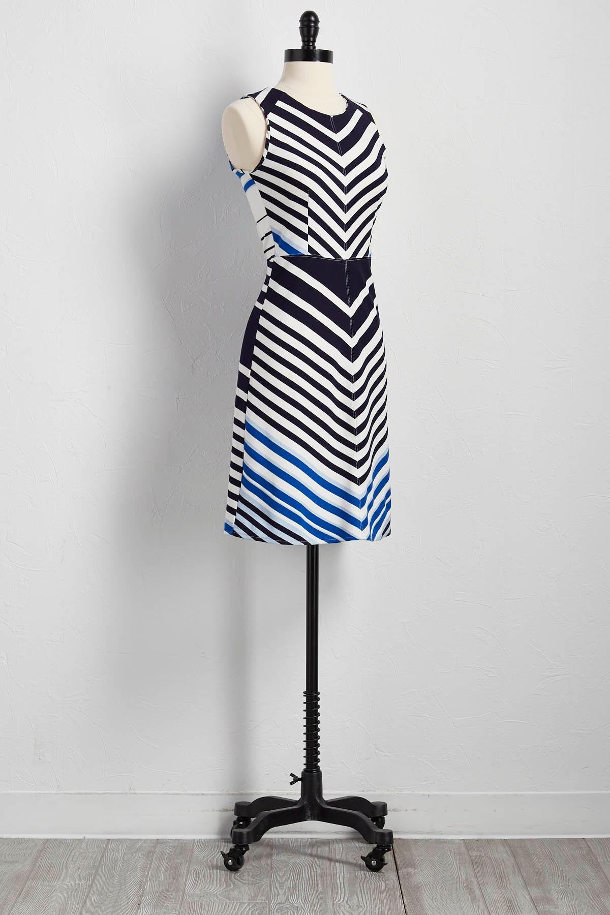 Mitered Stripe Sheath Dress