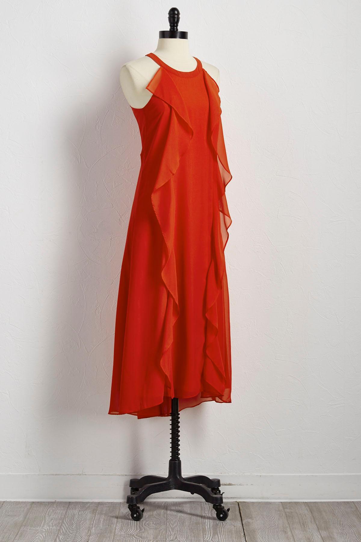 Double Ruffle High- Low Maxi Dress