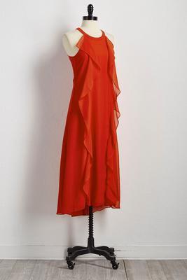double ruffle high-low maxi dress