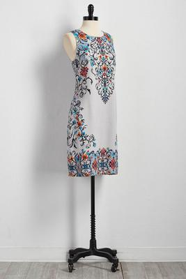 floral placement shift dress