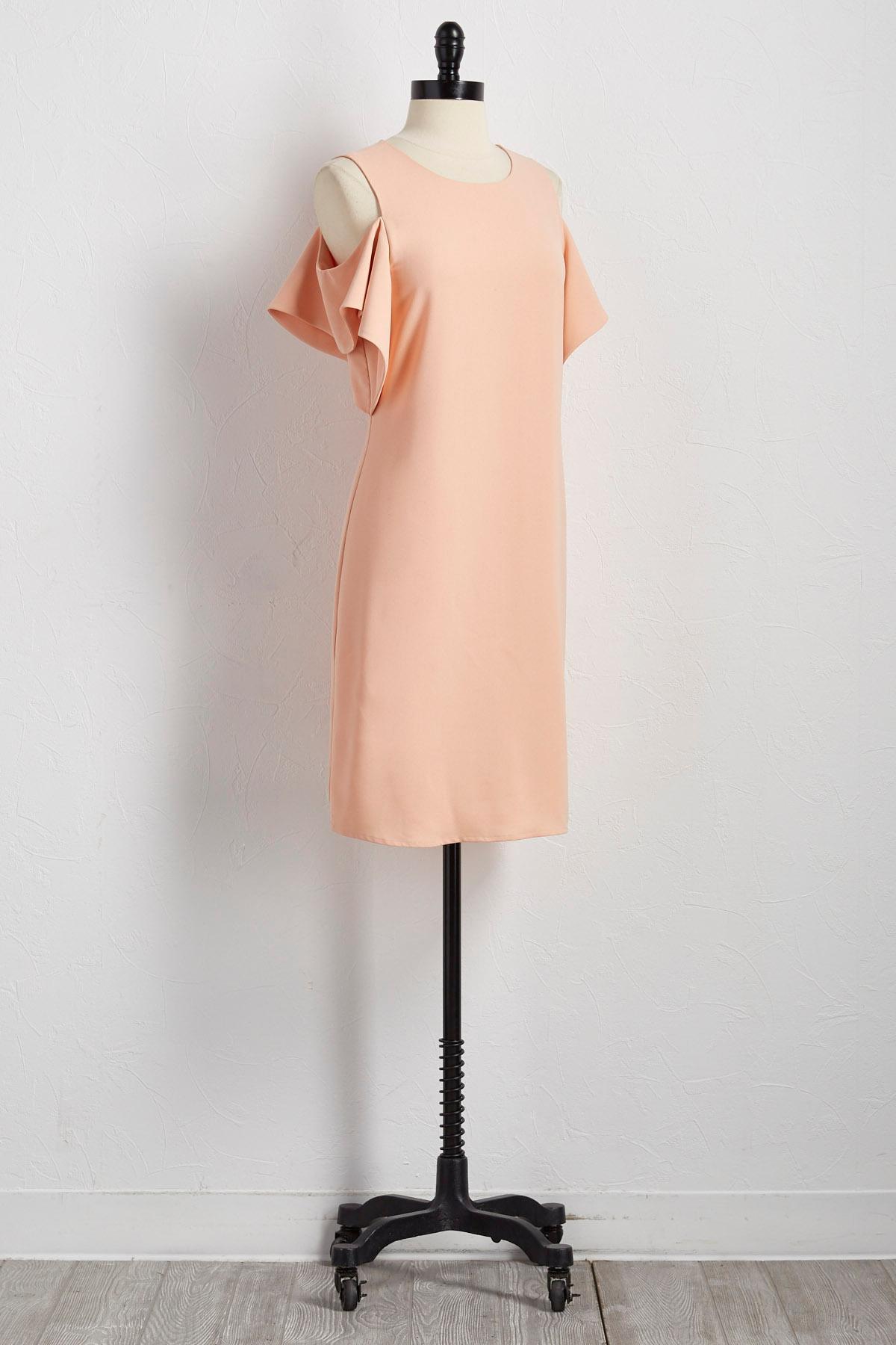Flyaway Sleeve Bare Shoulder Shift Dress