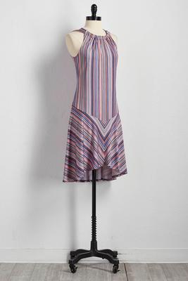 mixed stripe shift dress