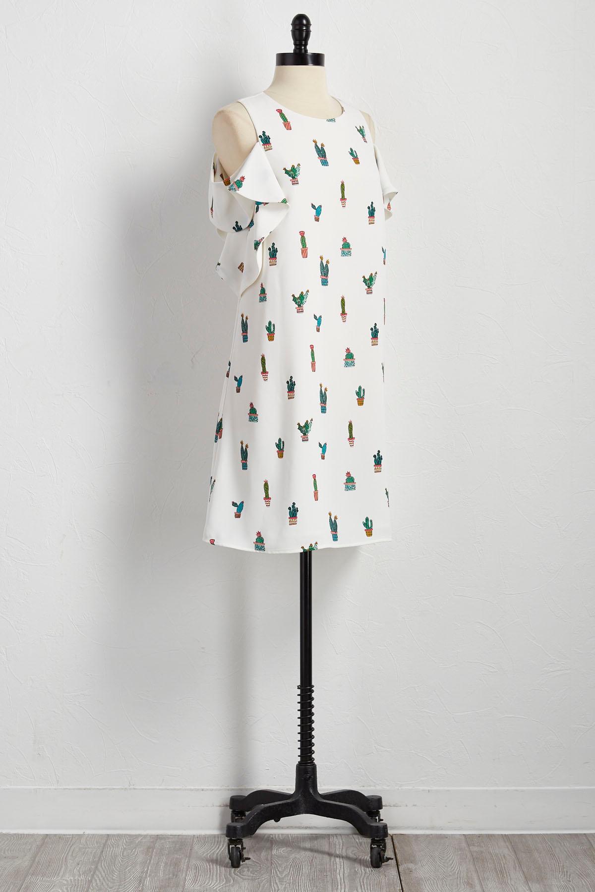 Cacti Bare Shoulder Shift Dress