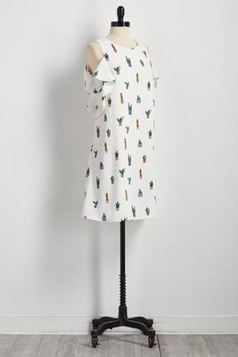 cacti bare shoulder shift dress