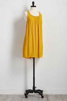 beaded neck shift dress