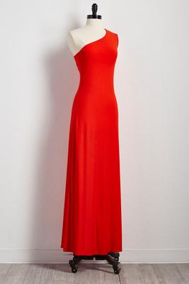 asymmetrical shoulder maxi dress