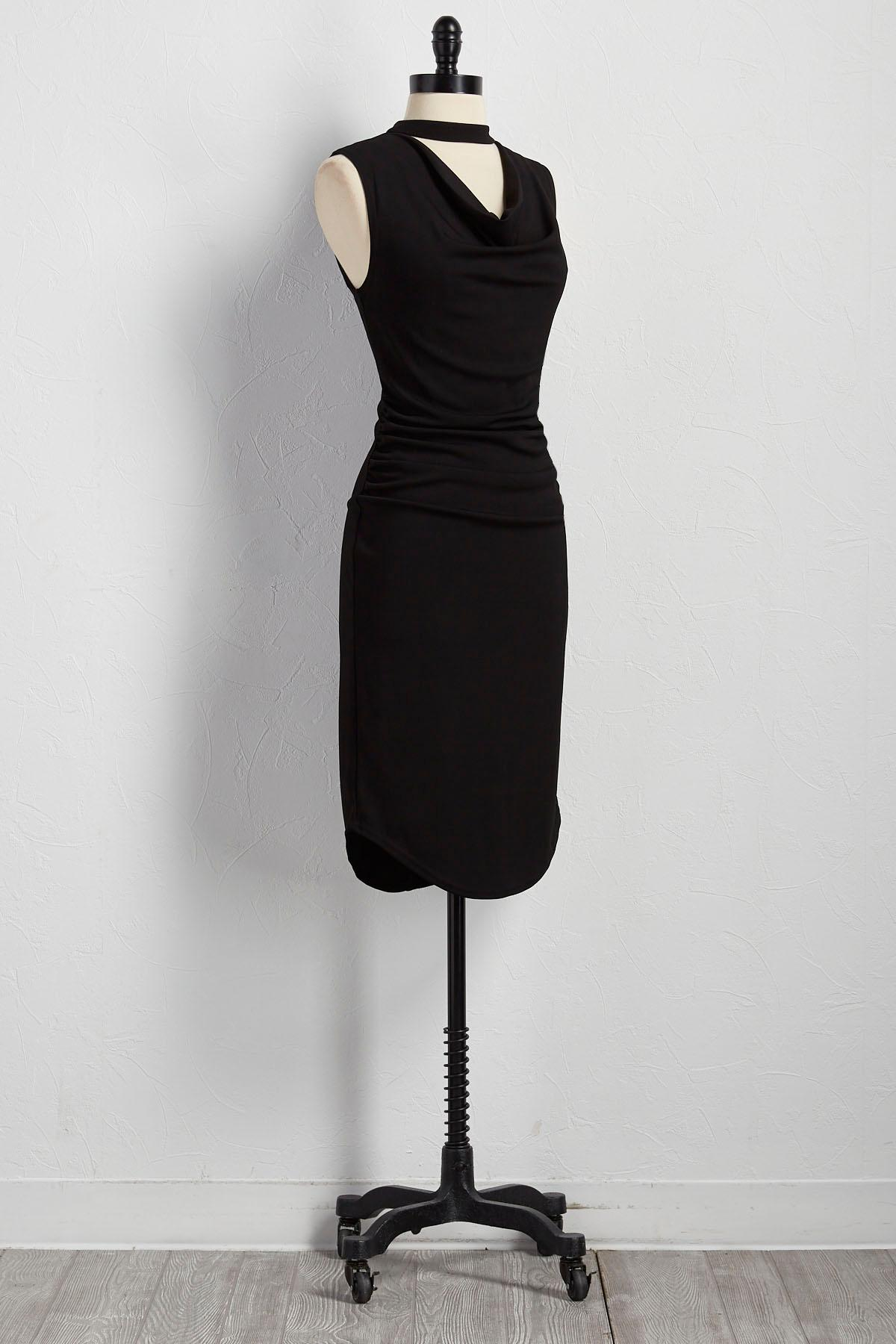 Cutout Mock Neck Sheath Dress