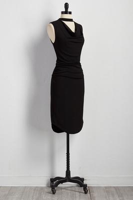 cutout mock neck sheath dress