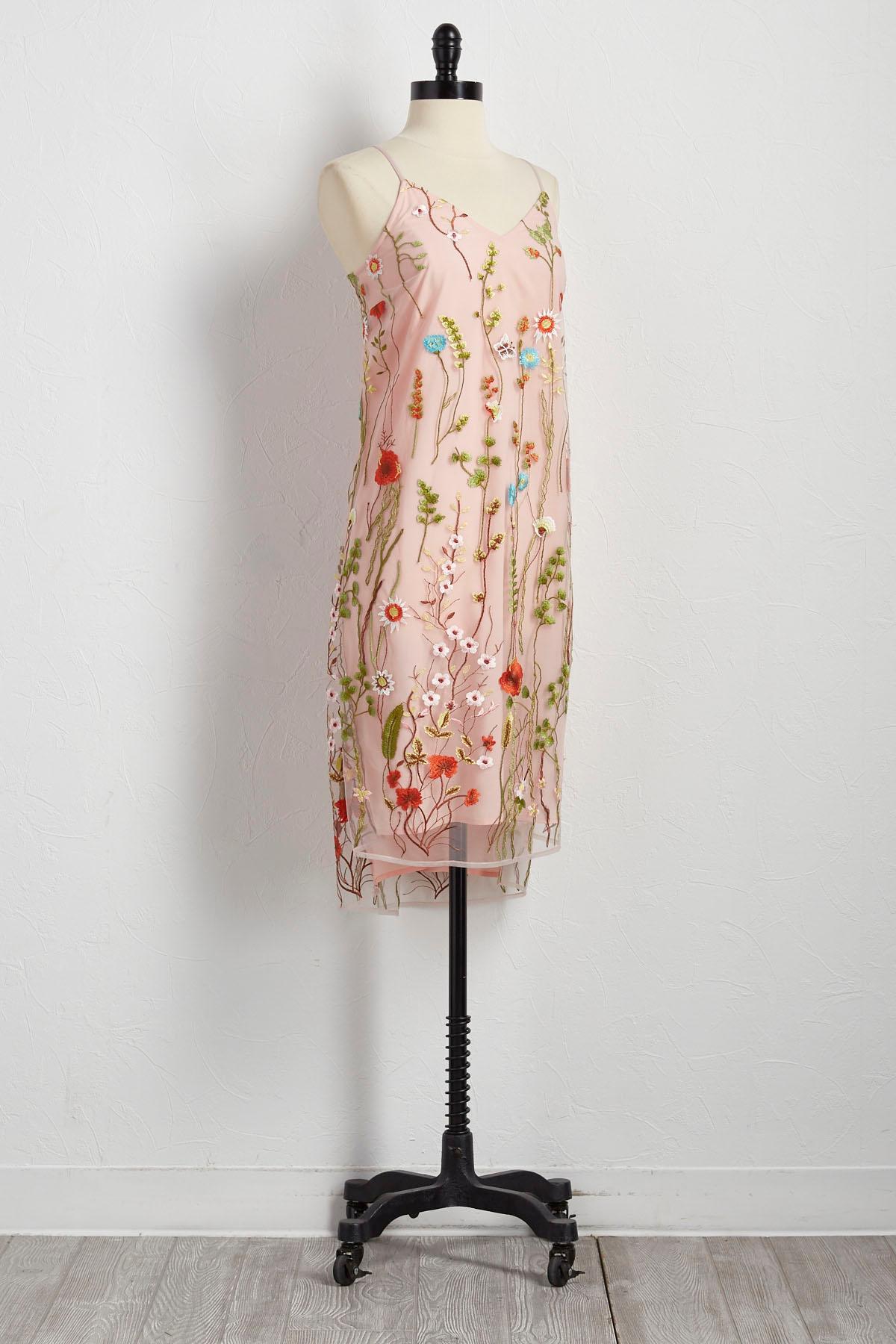 Botanical Embroidered Slip Dress