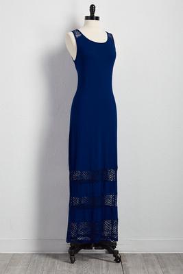 tiered crochet inset maxi dress