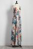 Belted Tribal Floral Wrap Maxi Dress