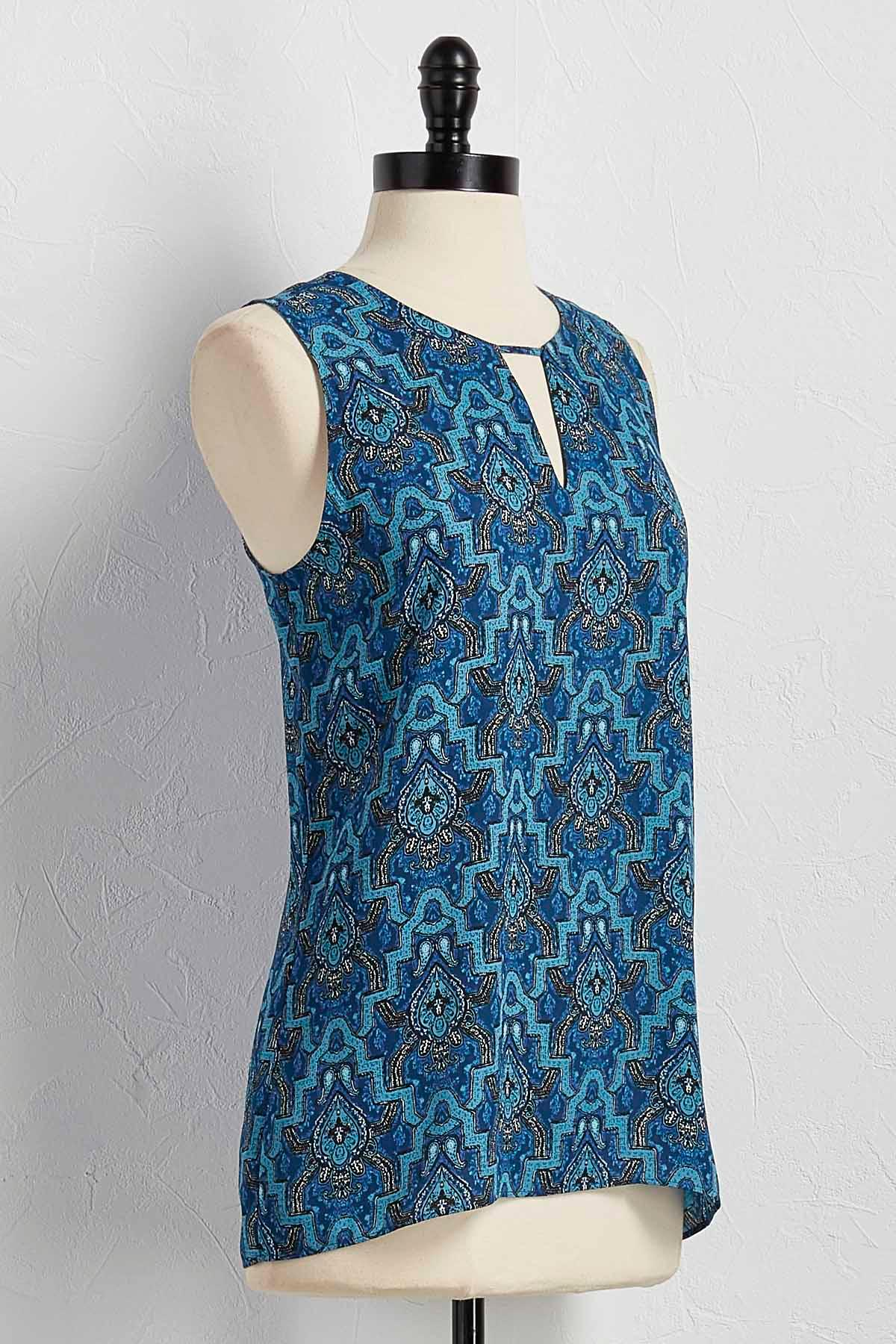 Cutout Bar Neck Tile Print Tank