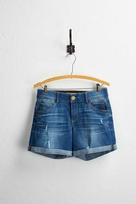 enhanced fit distressed jean shorts