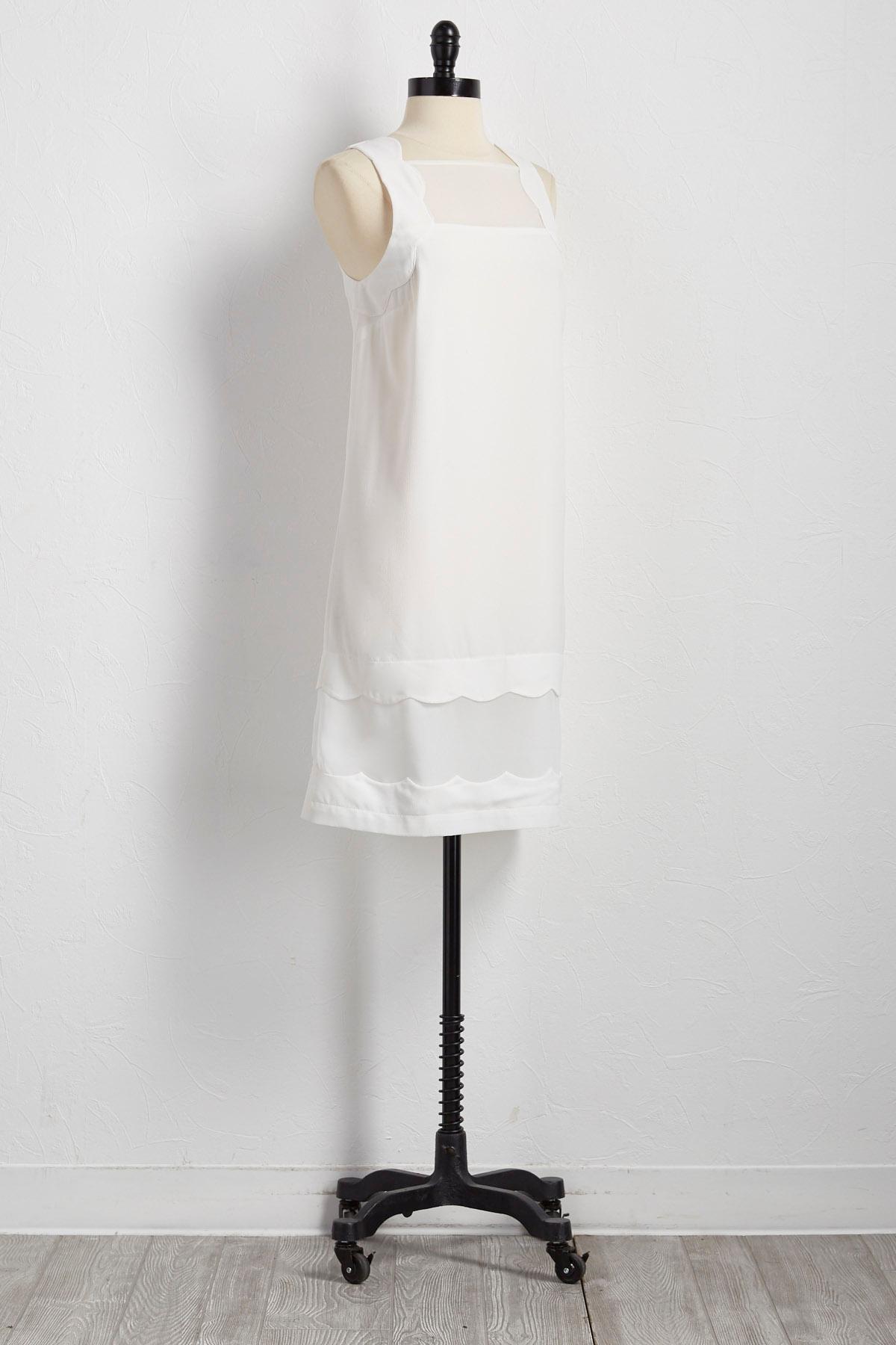Illusion Scalloped Sheath Dress