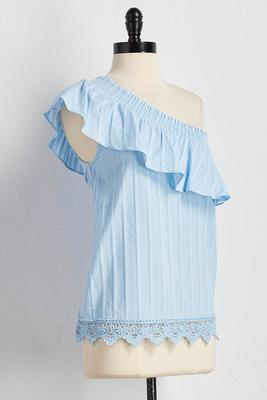 flounced one shoulder textured top