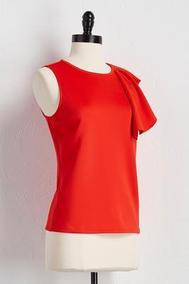 ruffled asymmetrical shoulder top
