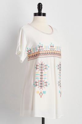embroidered mixed media top