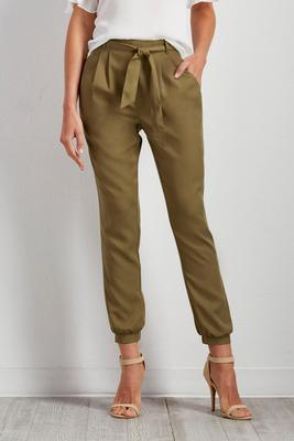 belted slim leg pants